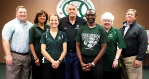 Lt to Rt:  Justin Brock, Rissie Owens, Karin Olson Williams, J.T. Langley, Patrick Antwi, Tracy Stoudt and Sam Moak