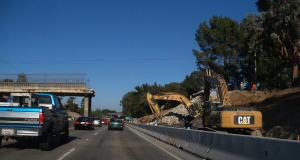 La Fonda Overcrossing being taken down during Highway 1 widening.