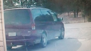 Photo is from a patrol deputies in-car video where the actual van was captured on in-car video.  You can notice particulars about the vehicle including brown dirt, a receiver and ball hitch on the rear, wheel type, and a white sticker on the right side of the lift gate.