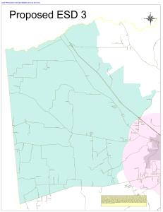 Property owners in the green area will see additional property taxes if voters approve the measure to create a new ESD.