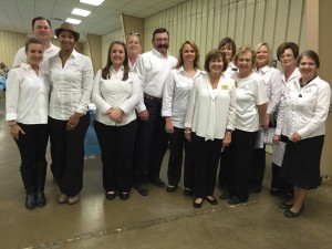 Members volunteering at PCC Fundraiser Banquet. Pictured Left to Right: Kathy Markham, David Markham, Dominique Hayes Adams, Natalie Pierce-Cox, Donna Pinon, Bill Tutor, Heidi Tutor, Cathy Pugh, Sherri Barrett, Linda Russell, Joni Staples, Barbara Larrison, Theresa Frazier