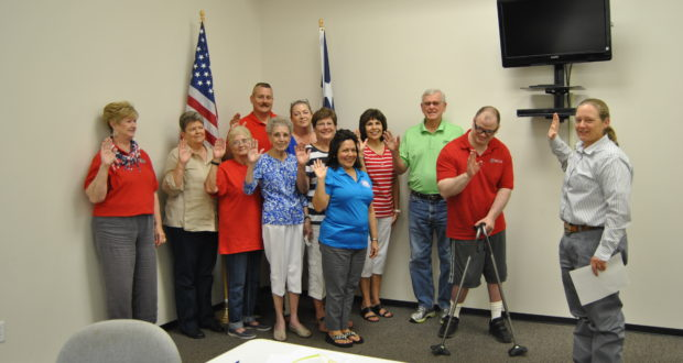 Front row: Linda McKenzie, County Chair; Linda Reese, Pct. 203 Chair; Pat Graham, Pct 401; Ila Martinez, Pct. 301; Cindy Guiterrez, Pct. 101. Second row: Eric Fugate, Pct. #204; Donna Pinon, Pct. 103; Judy Emmett, Pct. 102; Terry Stivers, Pct. 201; Gerald Skidmore, Pct. 205; Jimmy Hardy, Pct. 404 and County Court at Law Judge Tracy Sorensen.  Not pictured Tom Oleinik, Pct. 104; Rebecca Akin, Pct. 303; Marla Slaughter, Pct. 302; Dee Brimer, Pct. 304 and David Standlee, Pct. 403.